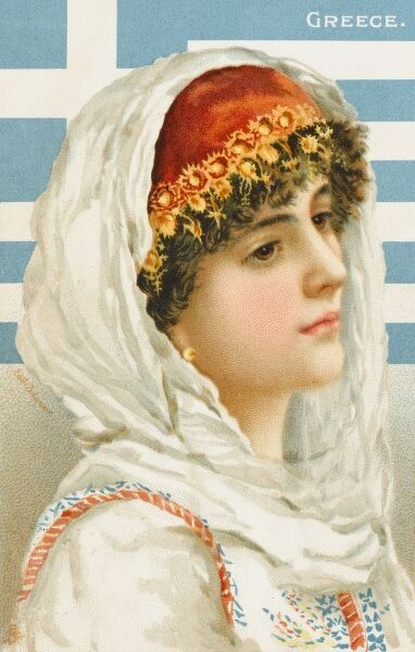A head-and-shoulders portrait of a pretty Greek Girl in traditional costume, with the Greek flag behind her