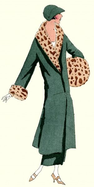 Woman in a green wool velvet coat trimmed with tiger-patterned fur, and matching hat, by Jeanne Lanvin.  1924