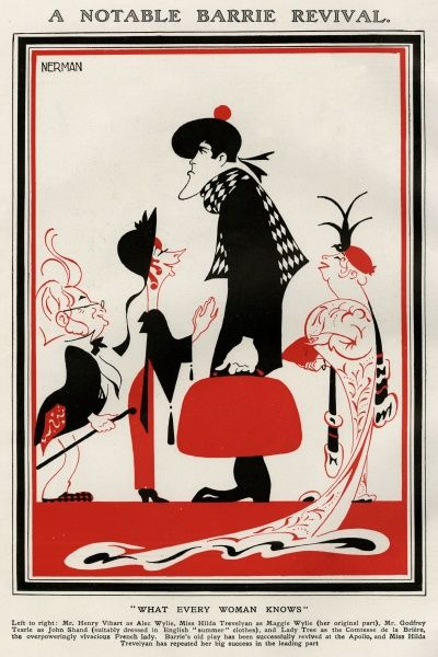 Einar Nerman's (1888-1983) artistic and vibrant depiction of the Play 'What Every Woman Knows' - at The Apollo Theatre, London (from left to right) Mr Henry Vibart as Alec Wilye, Miss Hilda Trevelyan as Maggie Wilye, Mr M Godfrey