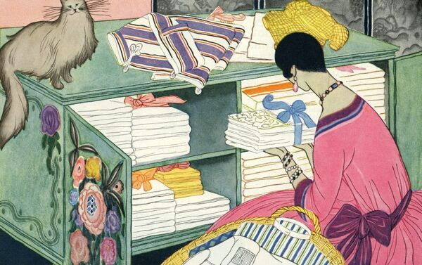 Woman at the linen cupboard (art deco). Illustrator Anon. From a contemporary colour advertisement. Date: 1926
