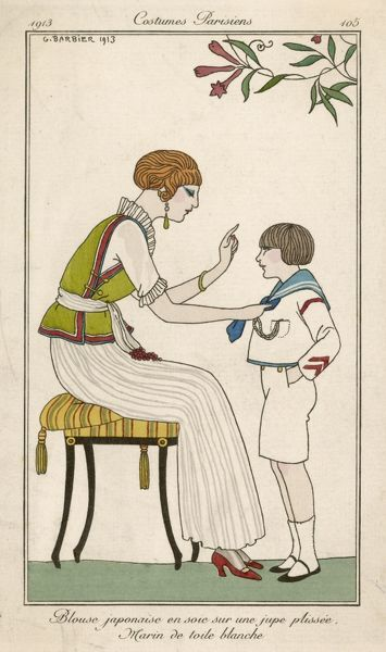 Mother and son in the garden; she wears a silk blouse and pleated skirt, he wears a sailor suit