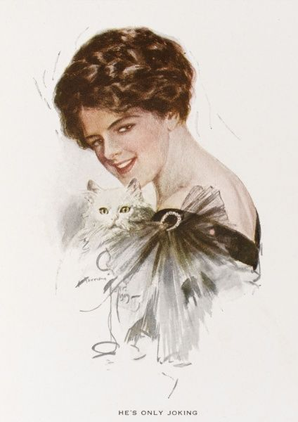 A pretty young American woman in a grey evening dress with a white Persian cat