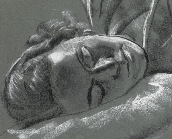 A beautiful study of the head of a sleeping woman in black and white pastel on grey board by Raymond Sheppard