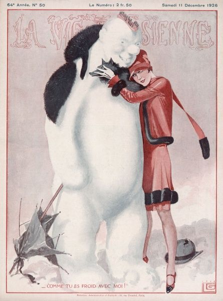 A thoroughly modern young woman, concerned for the welfare of a snowman stops and wraps herself and her fur over his shoulders to stop him getting cold - he is pleased! Date: 1926