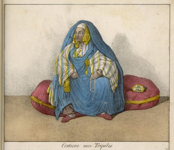 Woman of Tripoli at home, with her face uncovered. Date: 1836