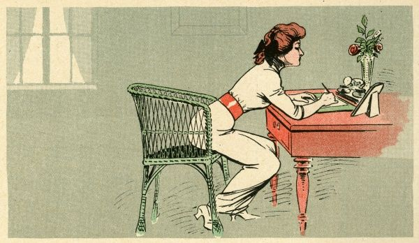 A lady leans forward to write a letter using a pen which she dips in an inkwell from time to time
