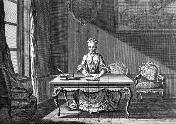 A French young lady is writing a letter at her desk with a quill-pen. Date: Circa 1760
