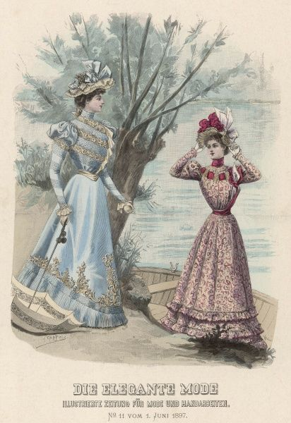 Two women dressed in fashionable gowns go boating