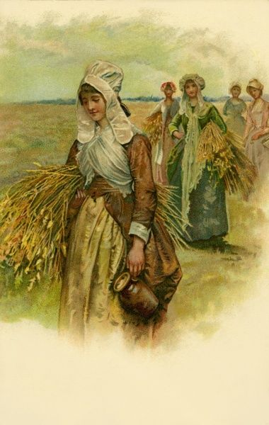 Women in the cornfields. Artist: Anon. Women returning home from work in the fields with a ration of wheat to make their own bread Date: 1900