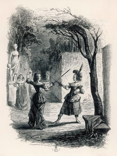 Women duelling with swords