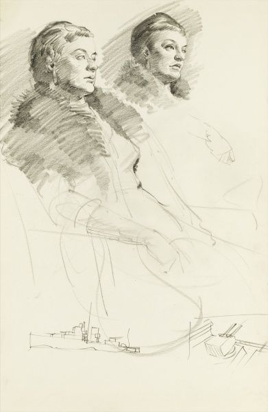 Pencil sketch of two women, both wearing furs, set above two small doodles of navy warships. Drawings by Raymond Sheppard