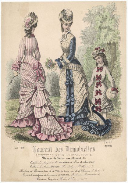 Girl: short grey dress trimmed with red ribbons down the front. Women: jacket bodices, one with pointed basques at the back, tie-back skirts & long mermaid-tail trains