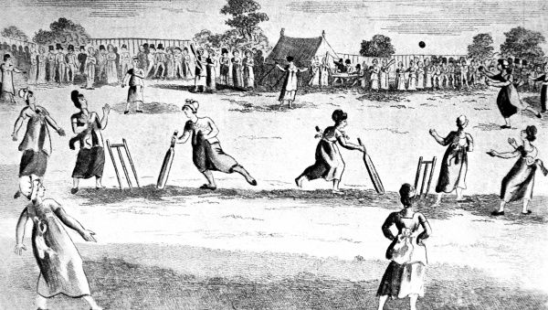 Engraving of a cricket match between 'the Hamshire and Surrey Lasses for 500 guineas', played at Newington Green, near Ball's Pond, Middlesex, 2nd October 1811. The Hampshire team won by 14 'notches&#39