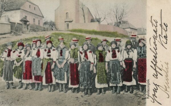 Kalotaszeg region in Romania, part of Transylvania - formerly ruled by Hungary. The rediscovery of Hungarian folklore traditions became popular in the 1880s, reviving the stitched cloth embroidery evident in the women pictured in this card