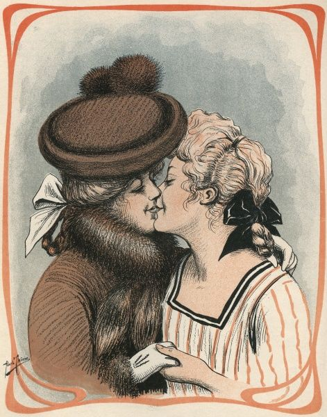 Two women kiss  1904