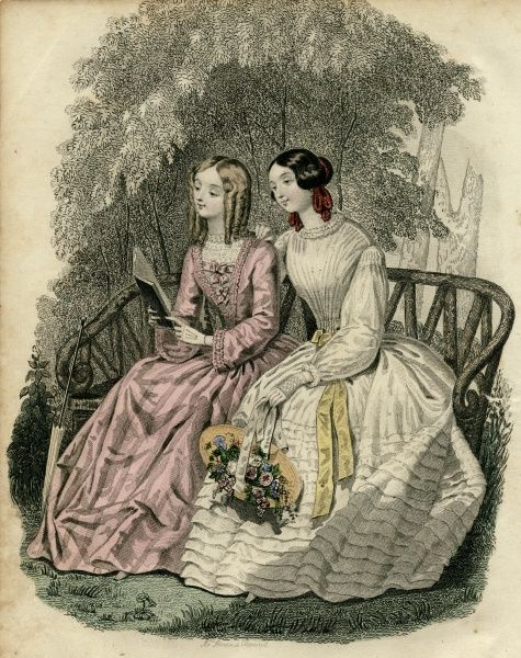 Two women in the latest French fashions, sitting on a garden bench. On the left is a pink dress with lace trimming below the neck, on the right is a multi-layered white dress with yellow ribbon trimming. Date: circa 1850s