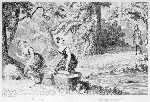 Two washerwomen treading their laundry by a river flee coyly when a young man in uniform approaches from a statley home