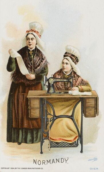 Two Women from Normandy, France using a Singer Sewing Machine Date: circa 1897