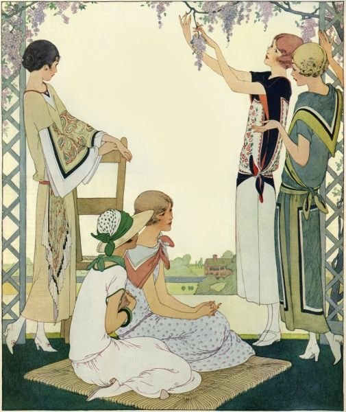 Women reclining in arbour 1923. Illustrator Anon. From a contemporary colour editorial. Date: 1923
