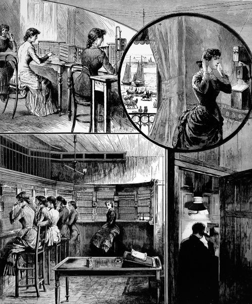 Series of engravings from the Graphic showing two callers during a telephone conversation and the operators at the exchange working to ensure the call is transferred