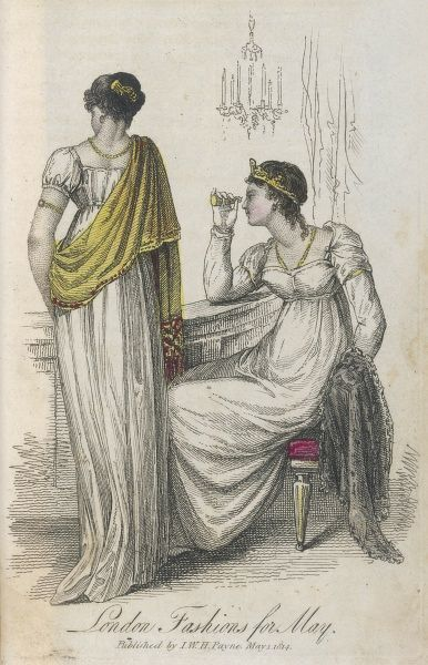 Two ladies in fashionable Grecian-style dresses watch the play, one using her opera glass