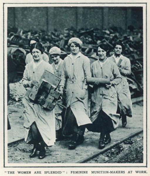 Women working at a munitions factory during the First World War. During the war women workers were employed extensively throughout British industry and agriculture