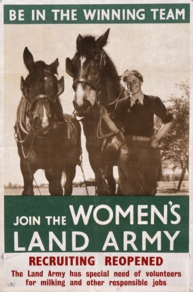 Recruiting poster for the Women's Land Army during World War Two - Be in the Winning Team, Join the Women's Land Army - featuring a smiling land army girl leading two farm horses