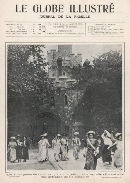 15 suffragettes, jailed for six weeks for disturbing the peace of Parliament Square, are released from Holloway Prison at 6am and greeted by hundreds of well-wishers