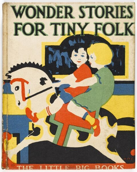 Bold, art deco style front cover illustration to a children's book showing two small children enjoying a ride on a rocking horse