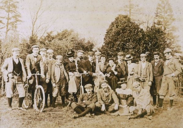 The members of Wood Green (Essex) Cycle Club poise for a group photo : this is the great age of cycling, when roads are uncongested and cycling is a pleasure