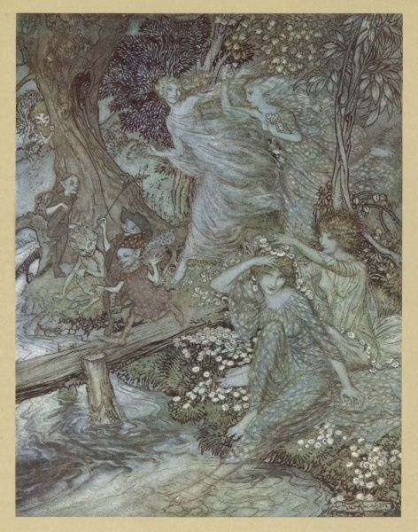 Wood Nymphs run through the moonlit woods, accompanied by Little People of various kinds