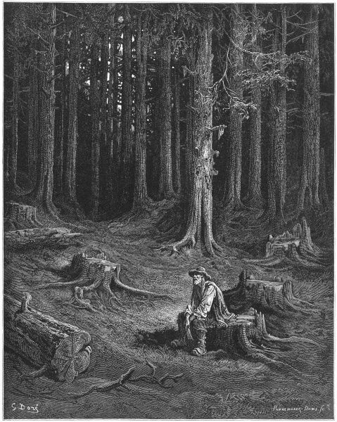 THE WOODS AND THE WOODCUTTER The woodman asks the forest for wood to mend the handle of his broken axe; he promises to ply his trade elsewhere but reneges when his axe is fixed