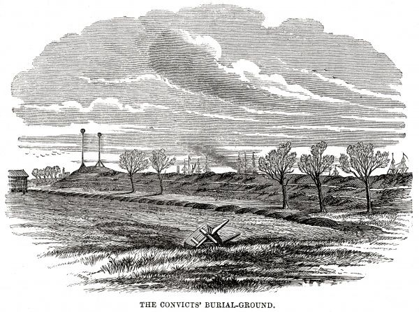 The Woolwich 'hulks' (prison ships) - the convicts' burial ground. Date: 1862