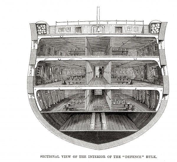 The Woolwich 'hulks' (prison ships) - interior sectional view of the 'Defence'. Date: 1862