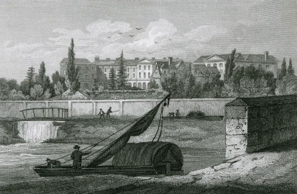Worcester College, Oxford, viewed from High Bridge. Date: 1821