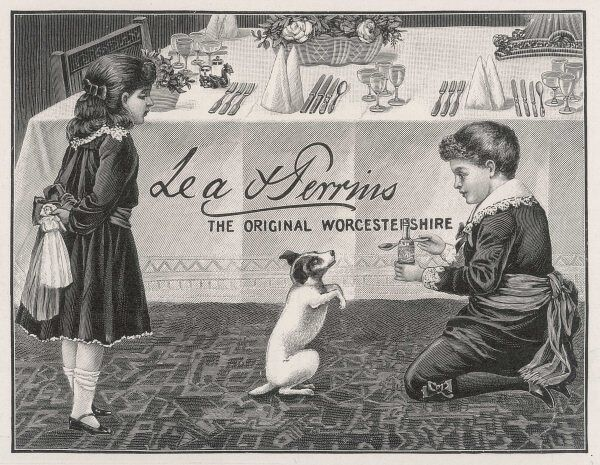 Two children tempt a small dog with a spoon of Lea & Perrins Original Worcestershire Sauce