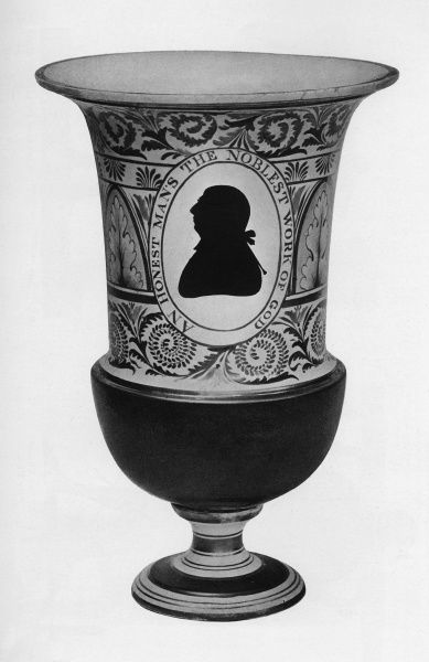 A Worceser vase, 13 inches high, with a silhouette of King George III and the words, 'An Honest Man's The Noblest Work of God'. Date: c.1810