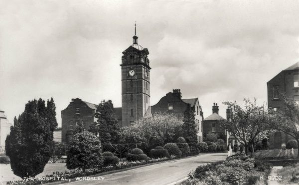 Main building and clock tower at Wordsley Hospital at Kingswinford, Stourbridge, Worcestershire, which was previously the Stourbridge Union workhouse