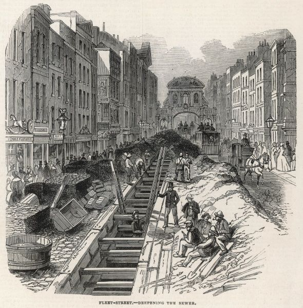 Engraving showing the construction work to deepen the Fleet Street sewer, in London in 1845. As can be seen in this image, the construction works ran along the centre of Fleet Street, causing great distruption to traffic. In the background of this image