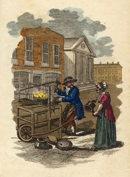 'Any work for the tinker?' He works in a London street with the fires burning on his cart, waiting for people to bring him things to mend. A woman obliges