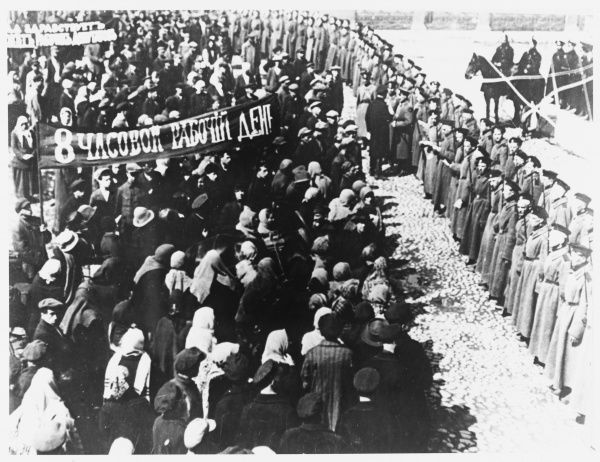Workers demonstrate in Petrograd for an eight-hour working day