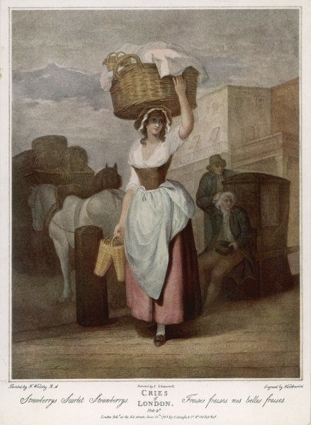 A young, working class woman (a seller of strawberries) wears a pink skirt, which reveals her ankles, an apron, tucked up at the front and possibly leather stays
