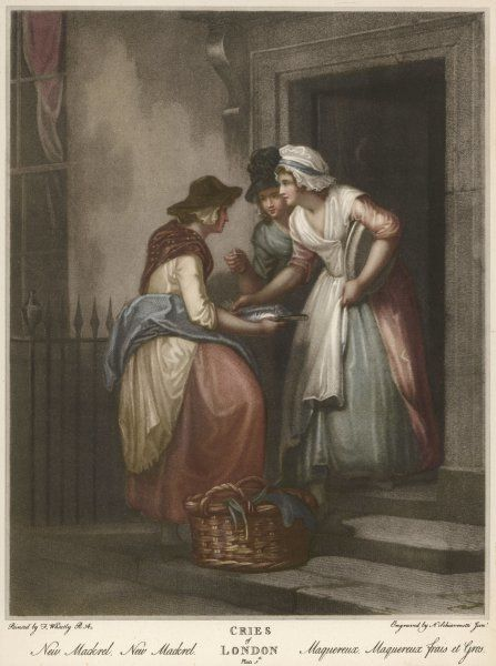 An example of working class women's clothing from the late 18th century can be seen in this image of a servant buying fish from a street trader