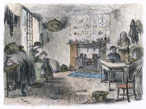 A working man's home at Lincoln Court, London : mantelpiece ornaments contrast with the mother searching her child's head for lice, and washing hanging up to dry