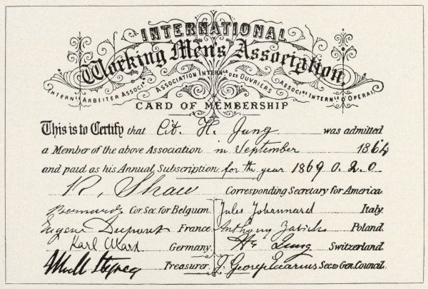 Certificate of membership of the International Working Men's Association signed by officers from Belgium, France, Germany, Italy and Poland as well as the United States