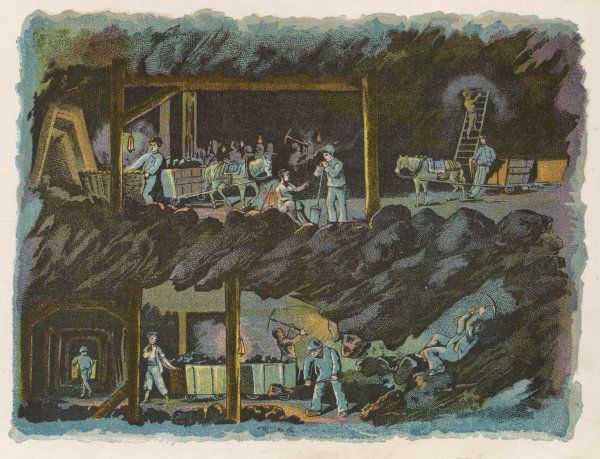The workings of a mine, showing miners at the coal face and the coal being transported by pony