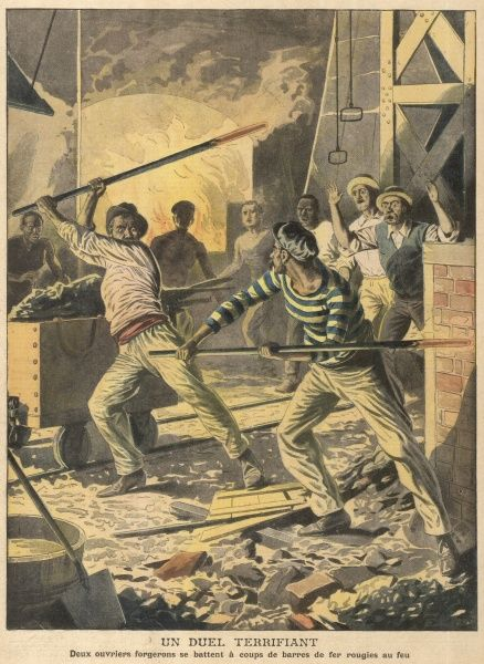 Two American ironworkers, longtime enemies, fight with red-hot bars : their mates separate them, but not before each has received terrible burns Date: 1907