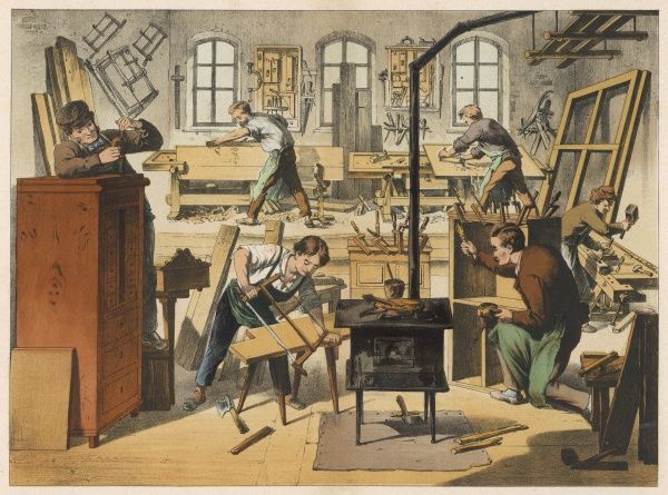 The workshop of a carpenter and joiner, with various activities taking place