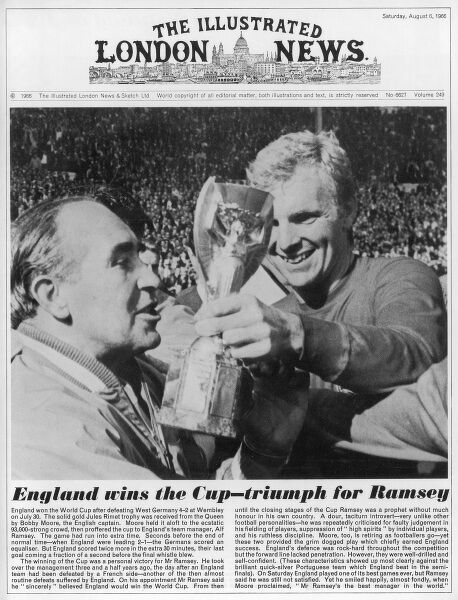 Front cover of The Illustrated London News. Victory for the England football team. Bobby Moore passing the World Cup trophy to team manager, Alf Ramsey following the team's victory over Germany in July 1966