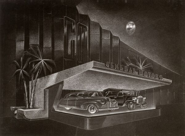 Norman Bel Geddes designed the General Motors Pavilion, known as Futurama, for the 1939 New York World's Fair. Date: circa 1939